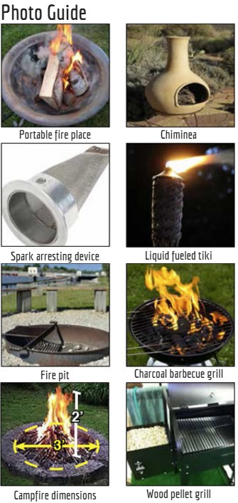 Images of types of fires like pits, grils, etc