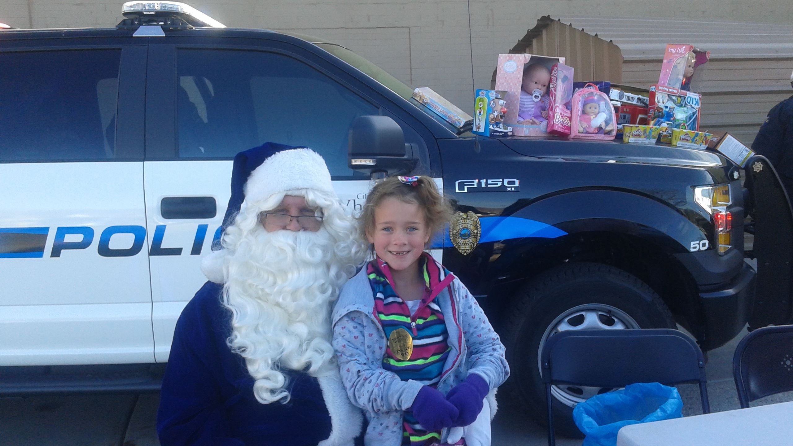 Blue Santa and Jaelyn