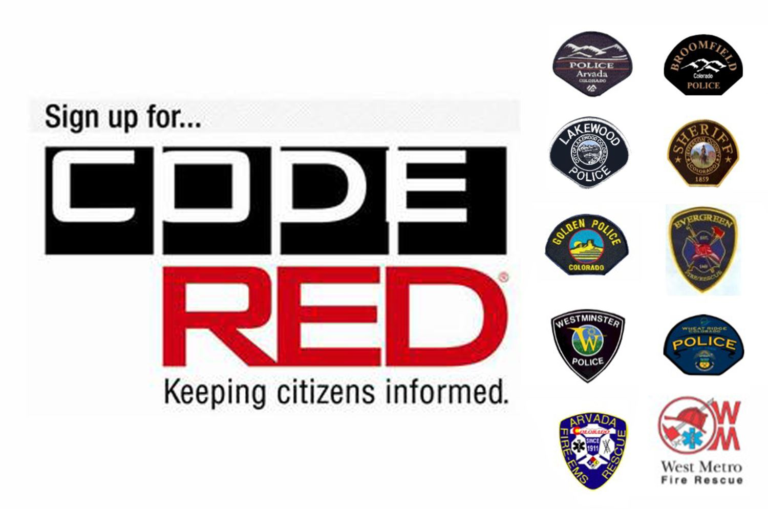 Code Red logo with various police badges
