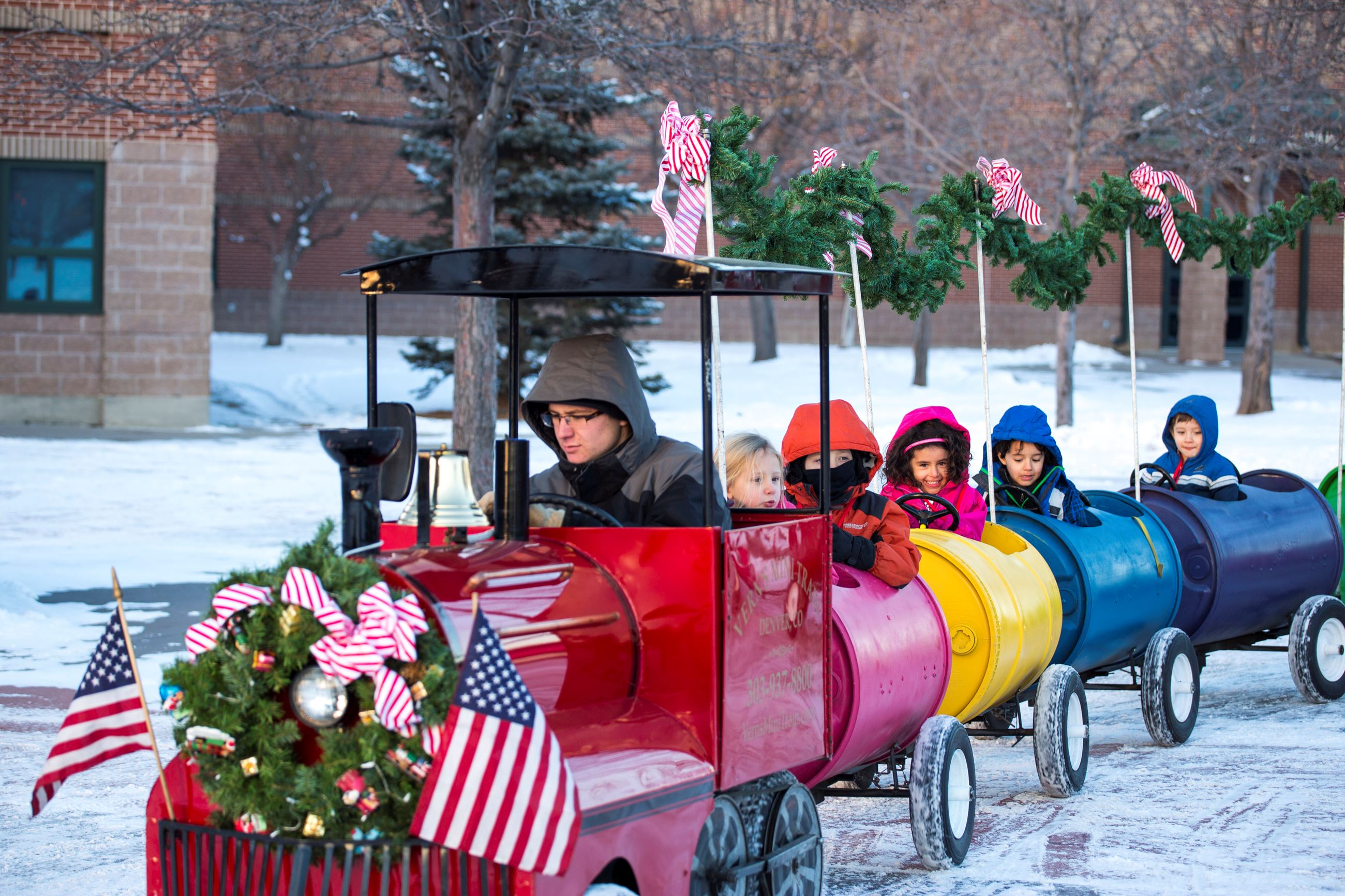 Photo of Polar Express train on the Green with happy kids