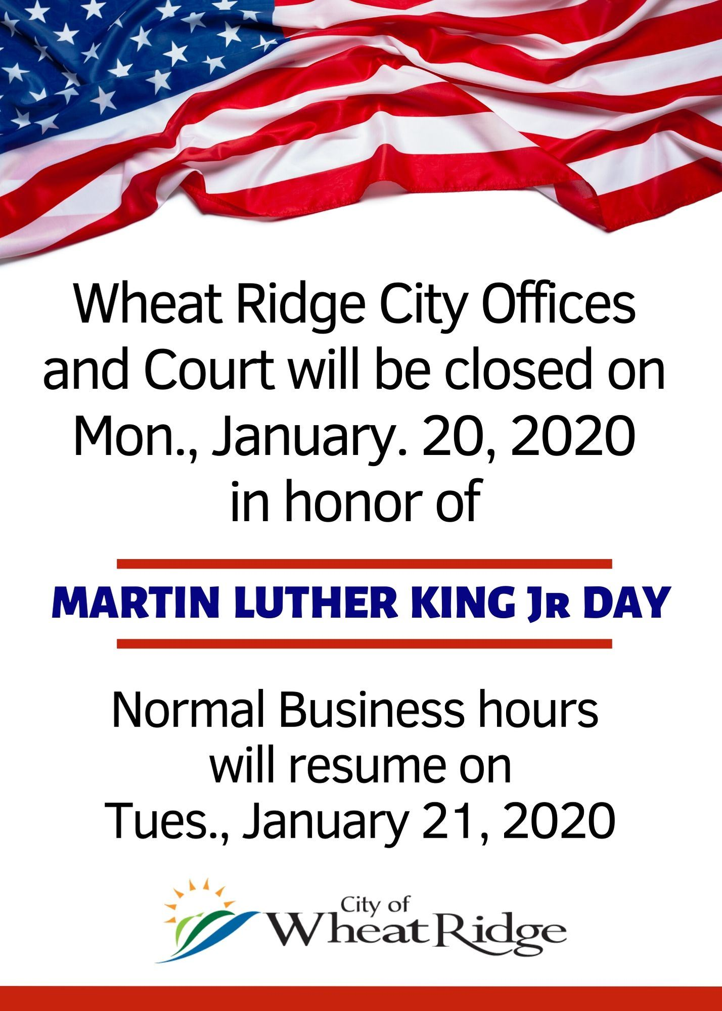 MLK Jr Closure Information
