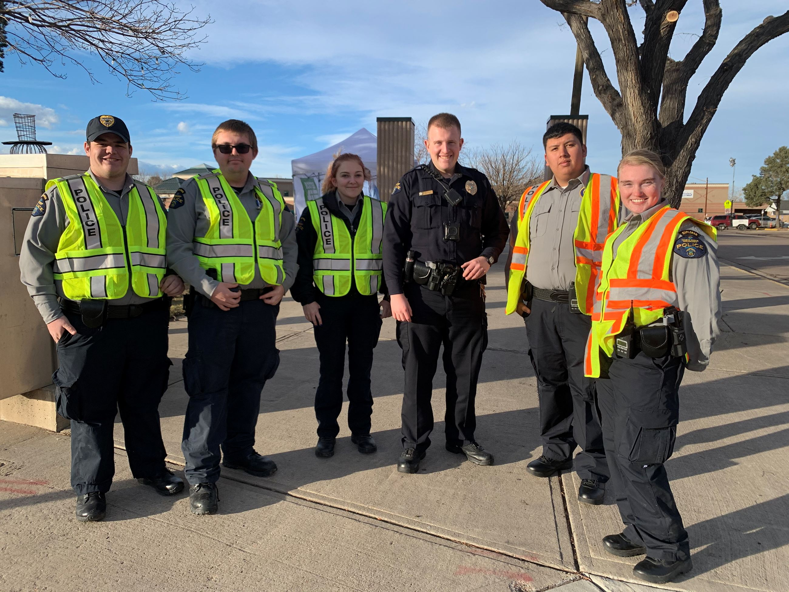 Helping with traffic control at the Holiday Celebration