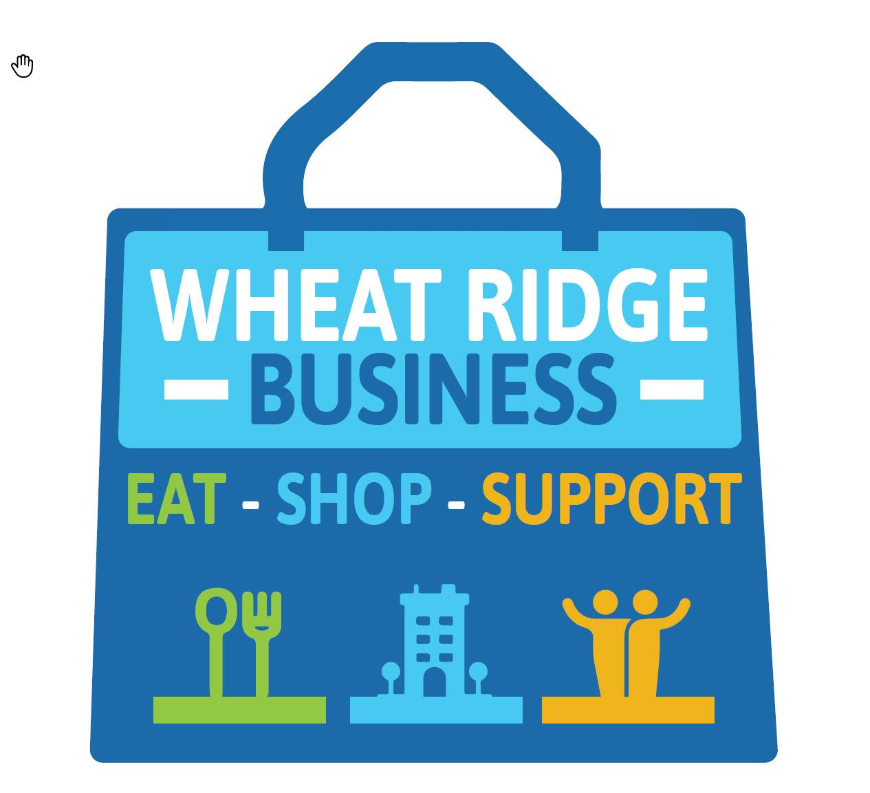 Eat Shop Support Wheat Ridge Business text placed in what looks like a shopping bag