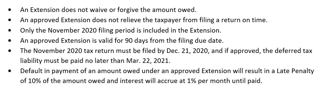 Business Tax Deferment Screen Shot of Guidelines