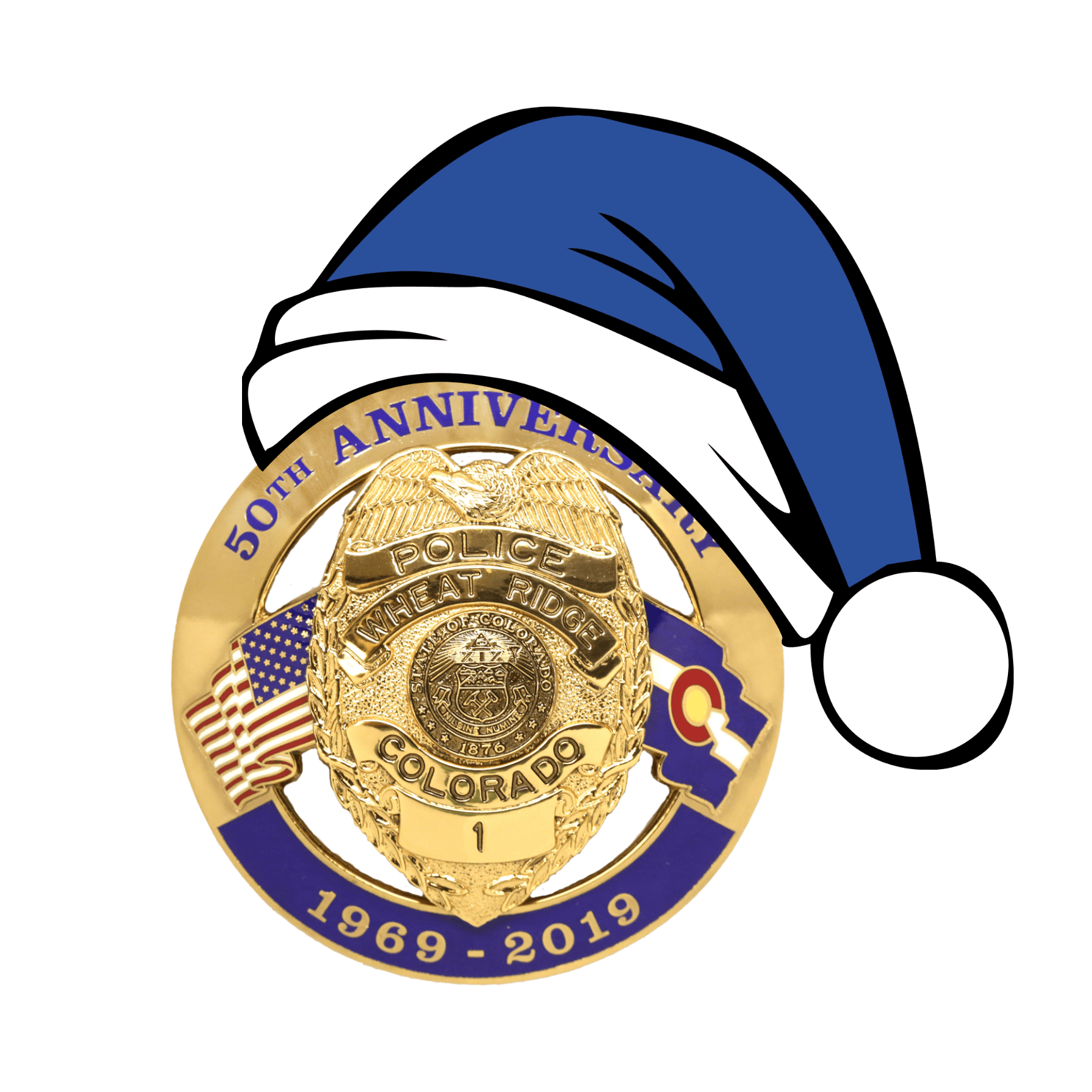 50th Anniversary Badge with blue Santa hat