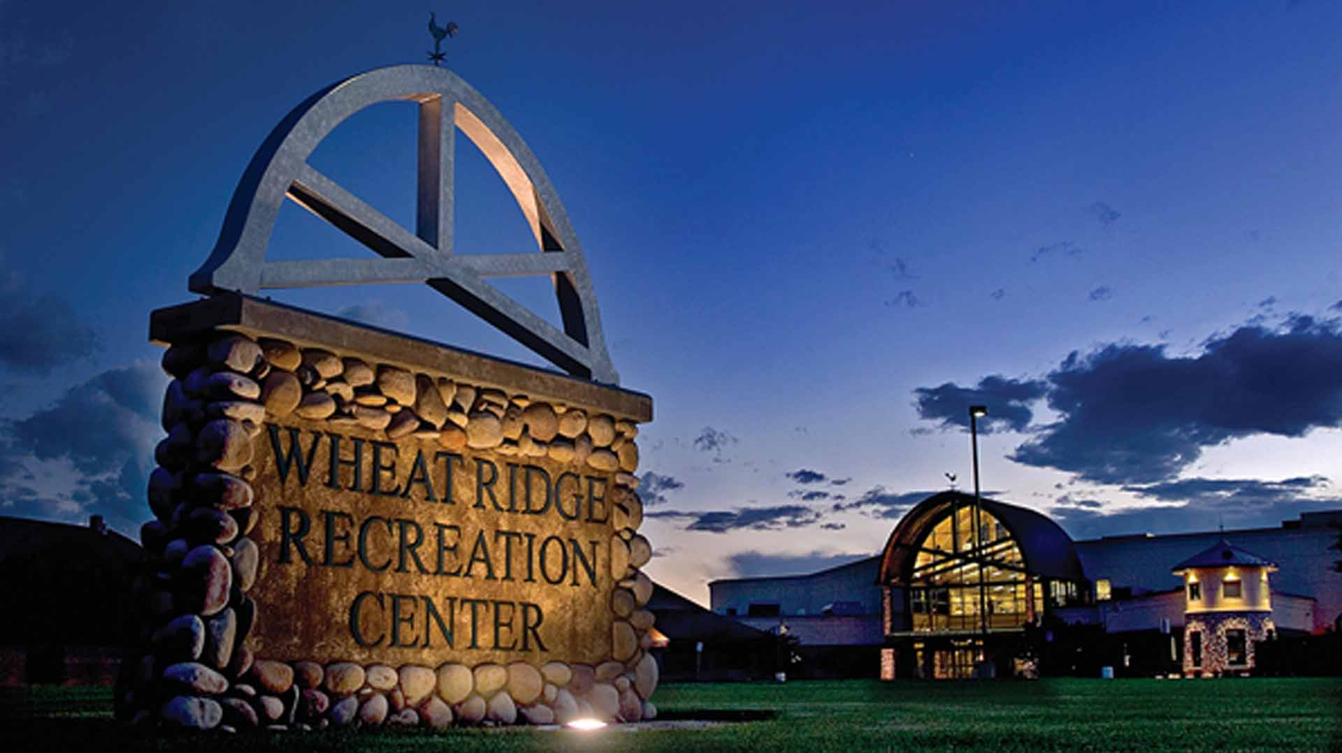 Wheat Ridge Recreation Center exterior at night